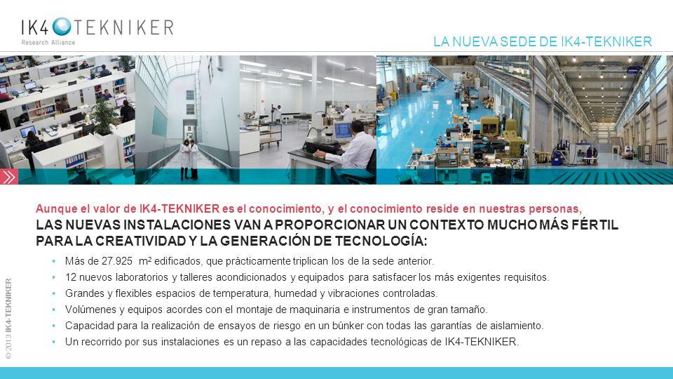 © 2013 IK4-TEKNIKER LA NUEVA SEDE DE IK4-TEKNIKER Más de 27.925 m 2 edificados, que prácticamente triplican los de la sede anterior. 12 nuevos laborat