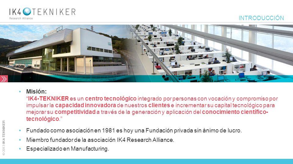 © 2013 IK4-TEKNIKER INTRODUCCIÓN Misión:IK4-TEKNIKER es un centro tecnológico integrado por personas con vocación y compromiso por impulsar la capacid