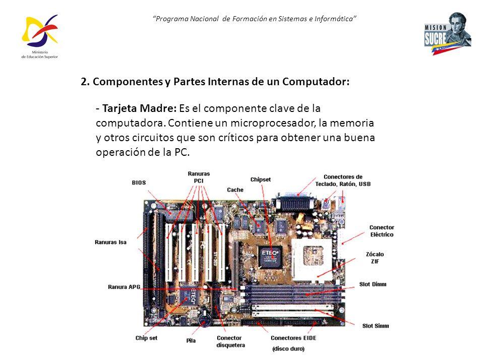 Programa Nacional de Formación en Sistemas e Informática 2. Componentes y Partes Internas de un Computador: - Tarjeta Madre: Es el componente clave de
