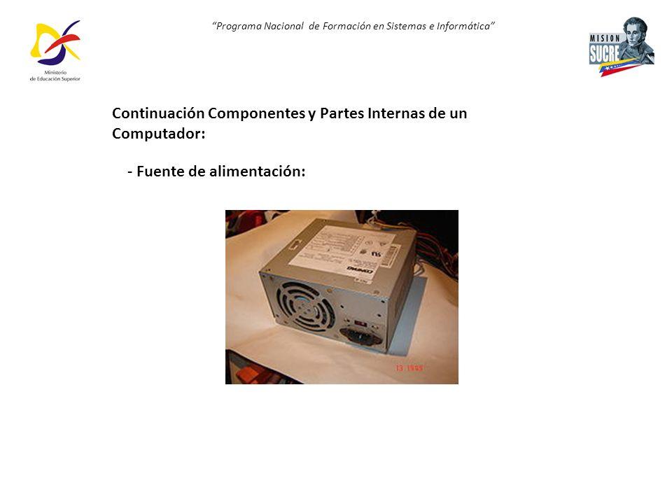 Programa Nacional de Formación en Sistemas e Informática - Fuente de alimentación: Continuación Componentes y Partes Internas de un Computador: