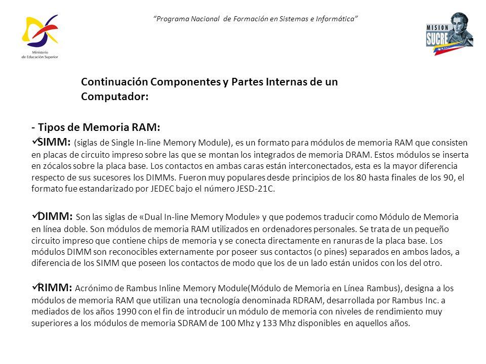 Programa Nacional de Formación en Sistemas e Informática - Tipos de Memoria RAM: SIMM: (siglas de Single In-line Memory Module), es un formato para mó