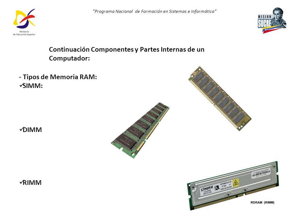 Programa Nacional de Formación en Sistemas e Informática - Tipos de Memoria RAM: SIMM: DIMM RIMM Continuación Componentes y Partes Internas de un Comp