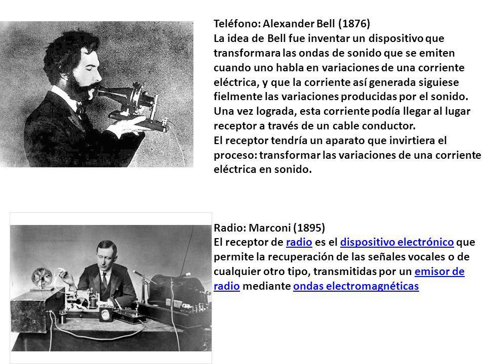 Teléfono: Alexander Bell (1876) La idea de Bell fue inventar un dispositivo que transformara las ondas de sonido que se emiten cuando uno habla en var
