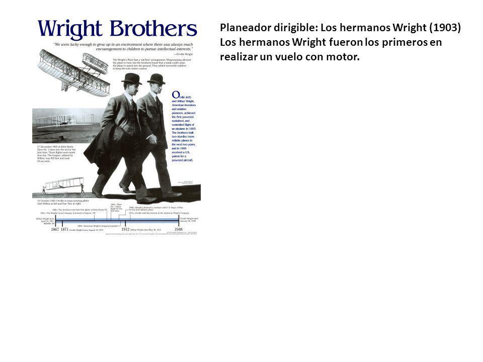 Planeador dirigible: Los hermanos Wright (1903) Los hermanos Wright fueron los primeros en realizar un vuelo con motor.