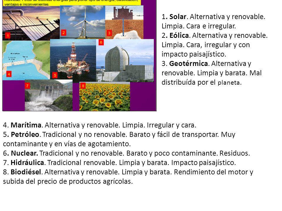 1. Solar. Alternativa y renovable. Limpia. Cara e irregular. 2. Eólica. Alternativa y renovable. Limpia. Cara, irregular y con impacto paisajístico. 3