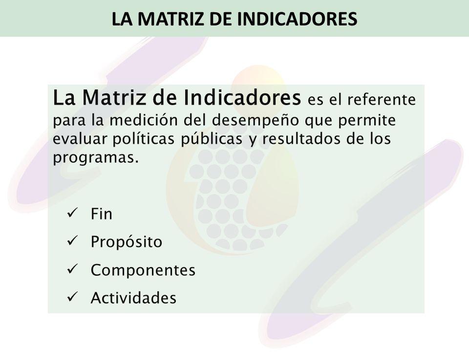 La Matriz de Indicadores es el referente para la medición del desempeño que permite evaluar políticas públicas y resultados de los programas. Fin Prop