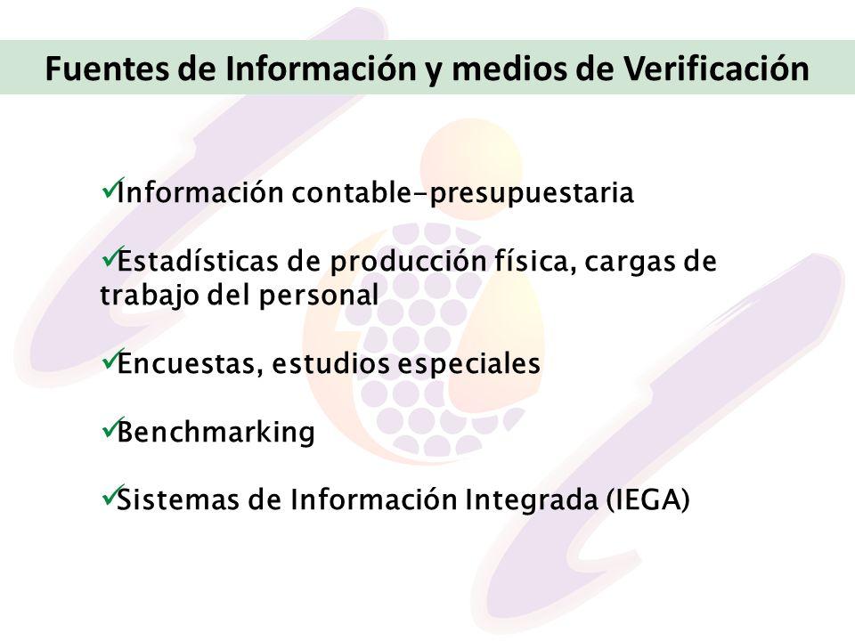 Información contable-presupuestaria Estadísticas de producción física, cargas de trabajo del personal Encuestas, estudios especiales Benchmarking Sist