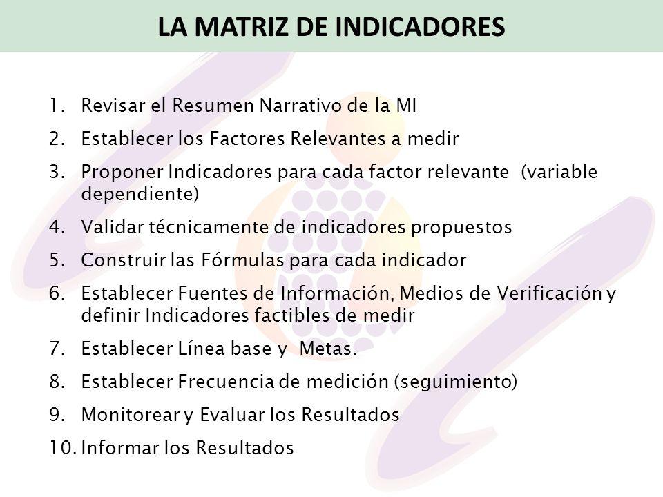 1.Revisar el Resumen Narrativo de la MI 2.Establecer los Factores Relevantes a medir 3.Proponer Indicadores para cada factor relevante (variable depen