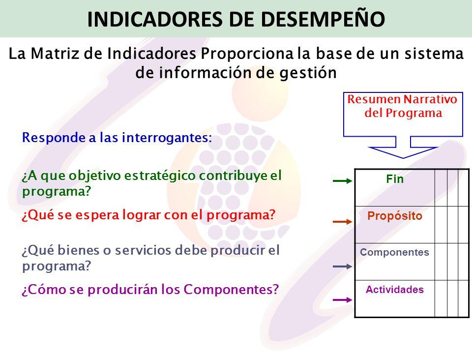 INDICADORES DE DESEMPEÑO La Matriz de Indicadores Proporciona la base de un sistema de información de gestión Responde a las interrogantes: ¿A que obj
