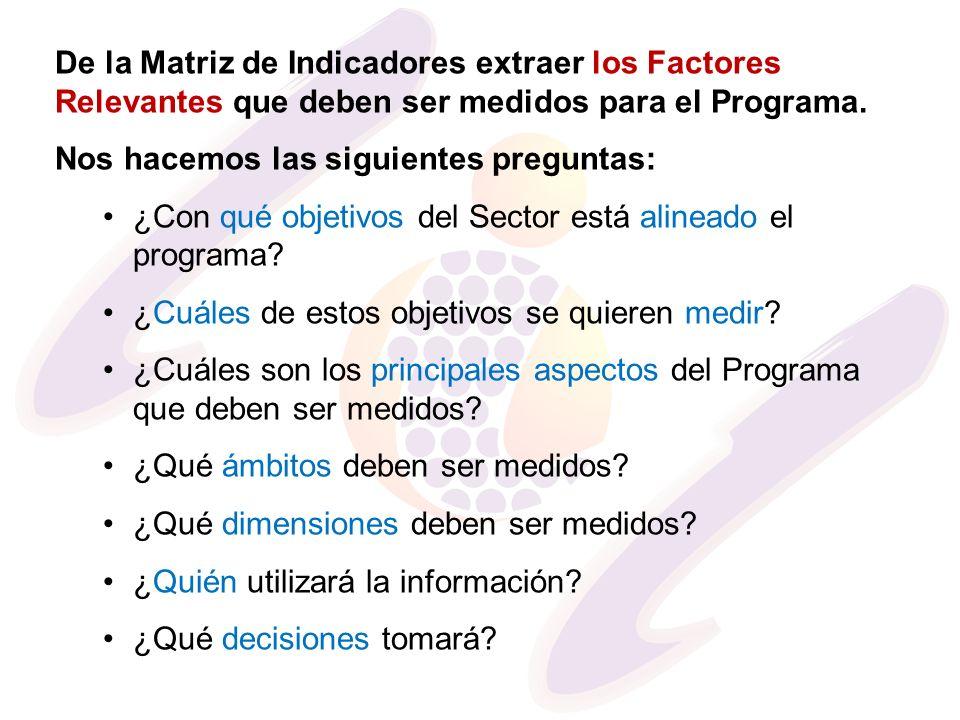 De la Matriz de Indicadores extraer los Factores Relevantes que deben ser medidos para el Programa. Nos hacemos las siguientes preguntas: ¿Con qué obj