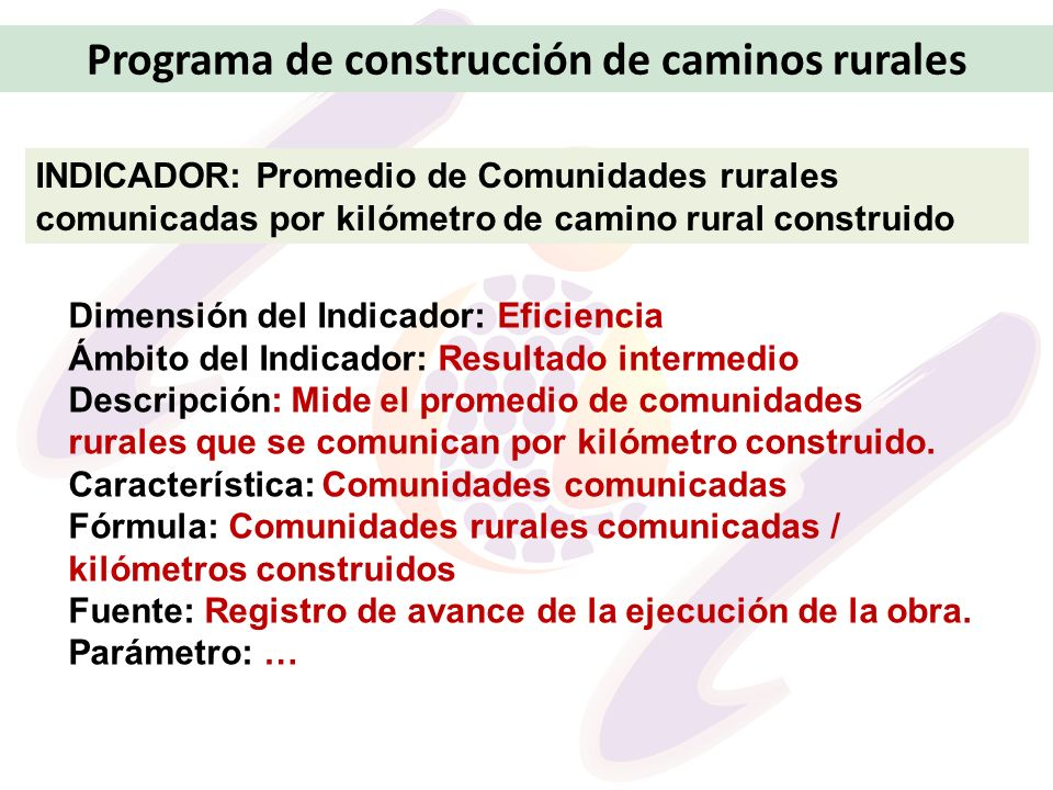 Programa de construcción de caminos rurales INDICADOR: Promedio de Comunidades rurales comunicadas por kilómetro de camino rural construido Dimensión