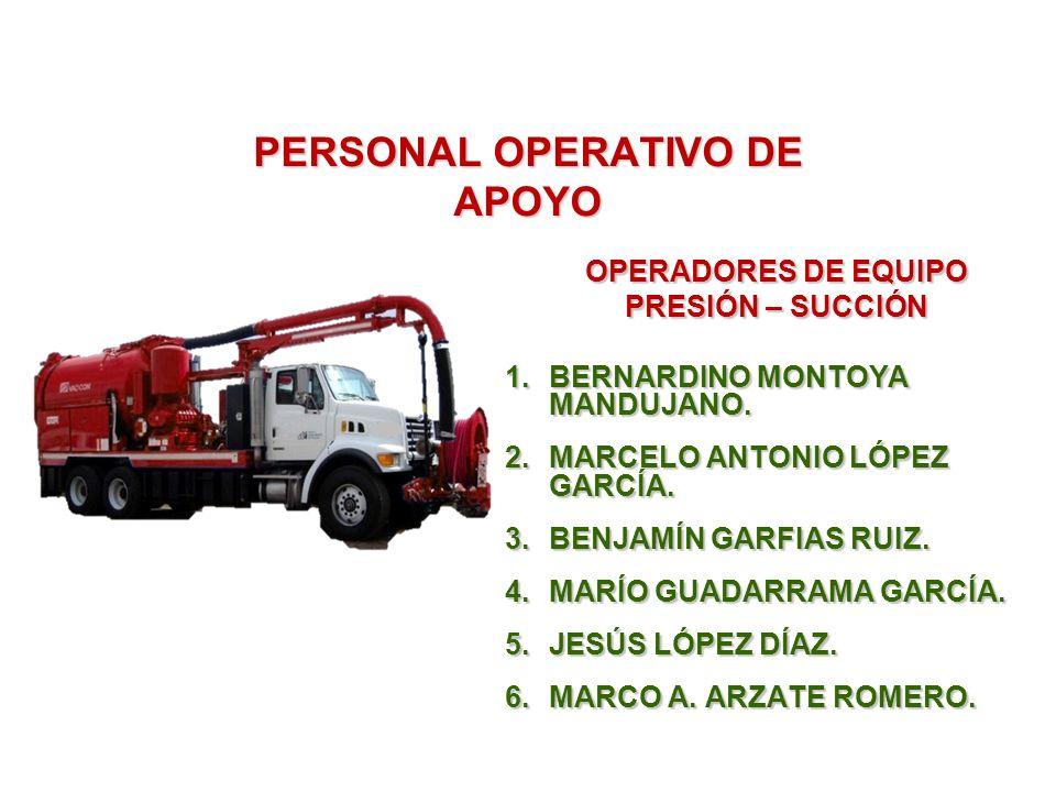 PERSONAL OPERATIVO DE APOYO OPERADORES DE EQUIPO PRESIÓN – SUCCIÓN 1.BERNARDINO MONTOYA MANDUJANO.