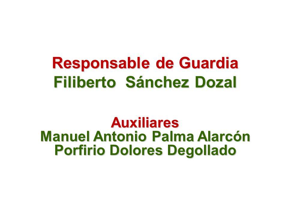 Responsable de Guardia Filiberto Sánchez Dozal Auxiliares Manuel Antonio Palma Alarcón Porfirio Dolores Degollado