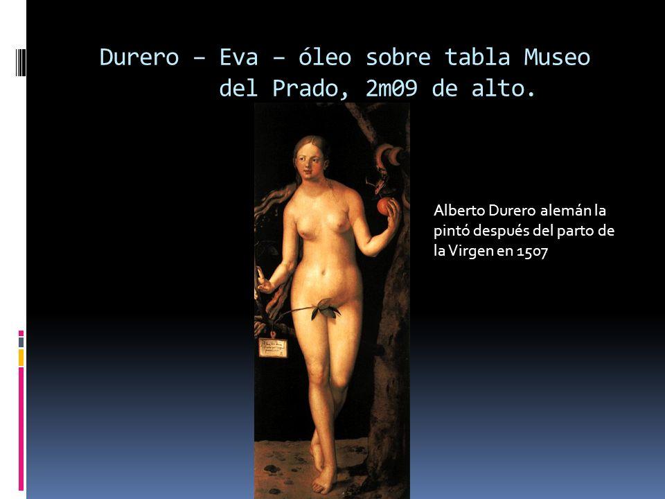 Durero – Eva – óleo sobre tabla Museo del Prado, 2m09 de alto. Alberto Durero alemán la pintó después del parto de la Virgen en 1507