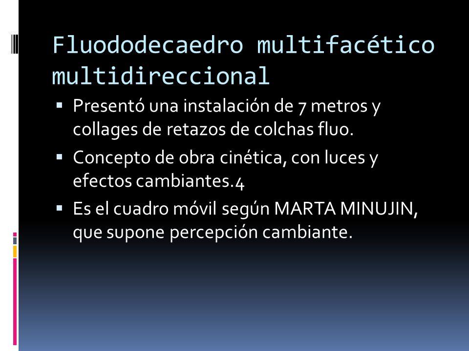 Fluododecaedro multifacético multidireccional Presentó una instalación de 7 metros y collages de retazos de colchas fluo. Concepto de obra cinética, c