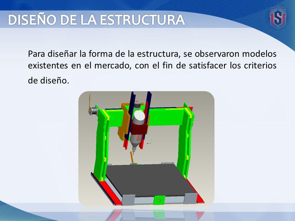 Para diseñar la forma de la estructura, se observaron modelos existentes en el mercado, con el fin de satisfacer los criterios de diseño.