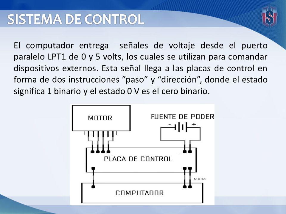 El computador entrega señales de voltaje desde el puerto paralelo LPT1 de 0 y 5 volts, los cuales se utilizan para comandar dispositivos externos. Est