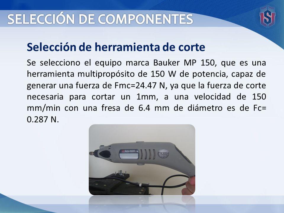 Selección de herramienta de corte Se selecciono el equipo marca Bauker MP 150, que es una herramienta multipropósito de 150 W de potencia, capaz de ge