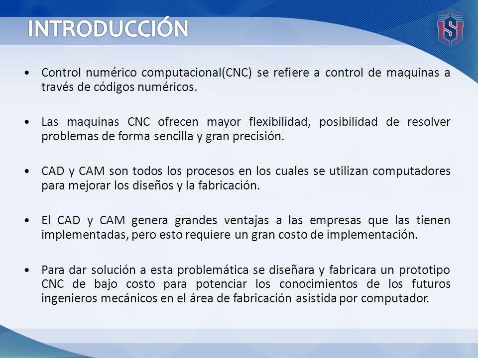 Control numérico computacional(CNC) se refiere a control de maquinas a través de códigos numéricos. Las maquinas CNC ofrecen mayor flexibilidad, posib