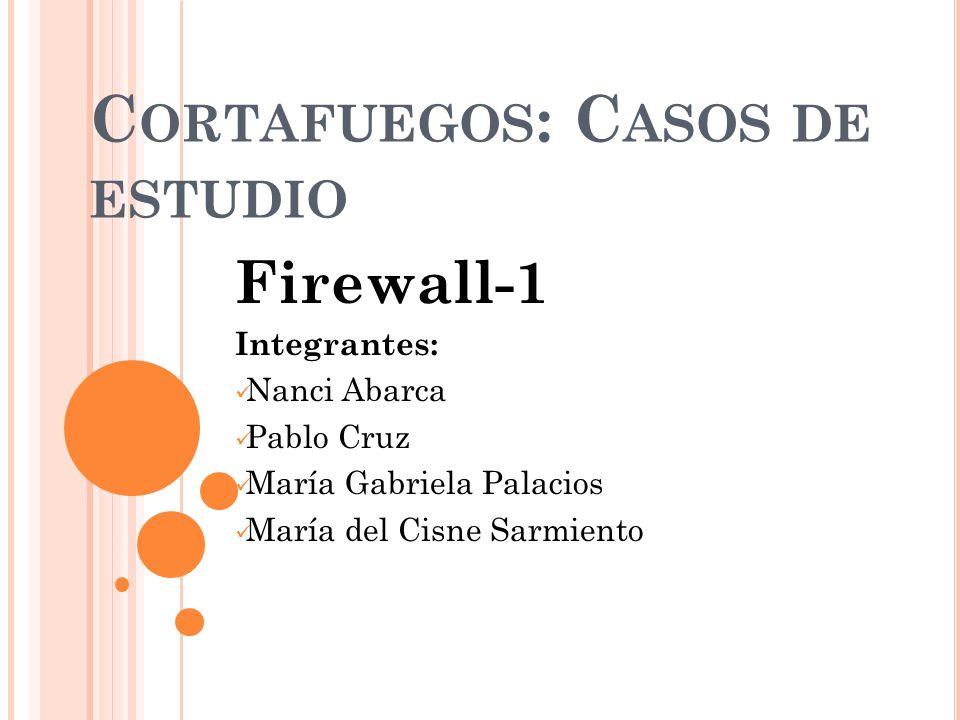 C ORTAFUEGOS : C ASOS DE ESTUDIO Firewall-1 Integrantes: Nanci Abarca Pablo Cruz María Gabriela Palacios María del Cisne Sarmiento