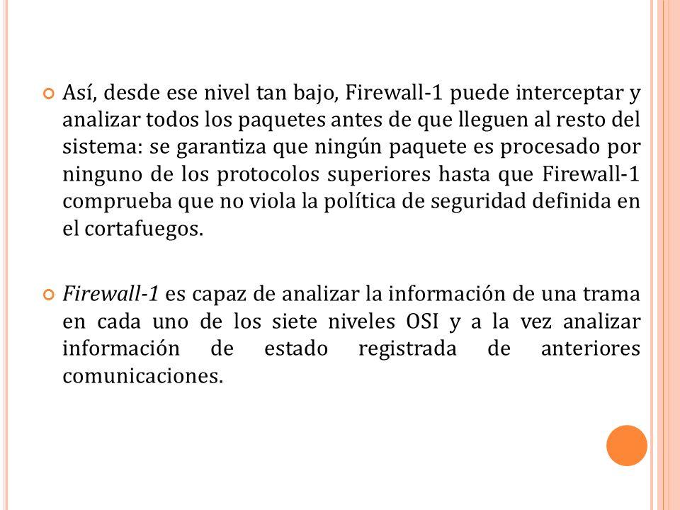 Así, desde ese nivel tan bajo, Firewall-1 puede interceptar y analizar todos los paquetes antes de que lleguen al resto del sistema: se garantiza que ningún paquete es procesado por ninguno de los protocolos superiores hasta que Firewall-1 comprueba que no viola la política de seguridad definida en el cortafuegos.