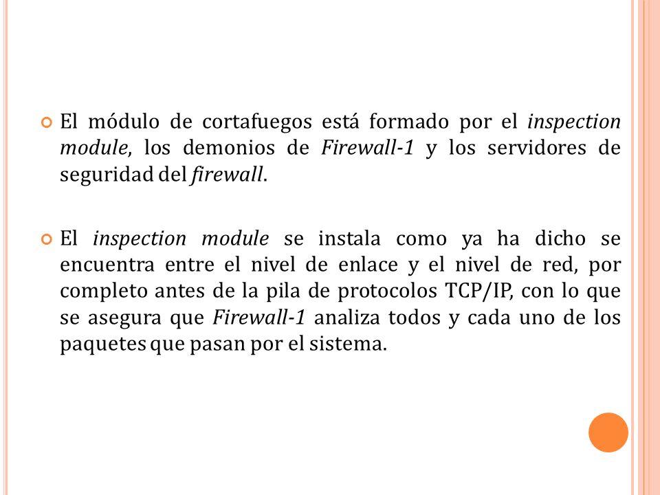 El módulo de cortafuegos está formado por el inspection module, los demonios de Firewall-1 y los servidores de seguridad del firewall.