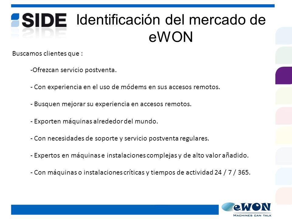Lo que ofrece eWON eWON le ofrece a los constructores de maquinaria e integradores de sistemas la solución de acceso remoto que: TELESERVICIO + VALOR AÑADIDO CON: - Goza de los beneficios de la tecnología de Internet.