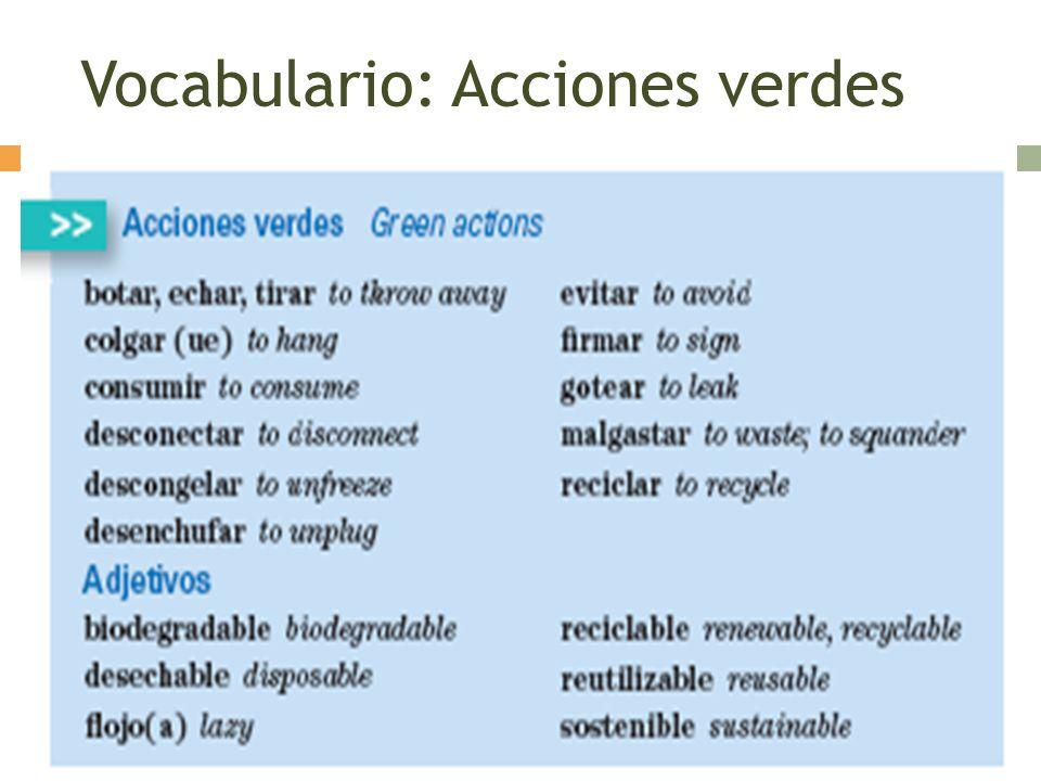 Vocabulario: Acciones verdes