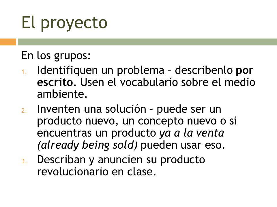 El proyecto En los grupos: 1. Identifiquen un problema – describenlo por escrito. Usen el vocabulario sobre el medio ambiente. 2. Inventen una solució