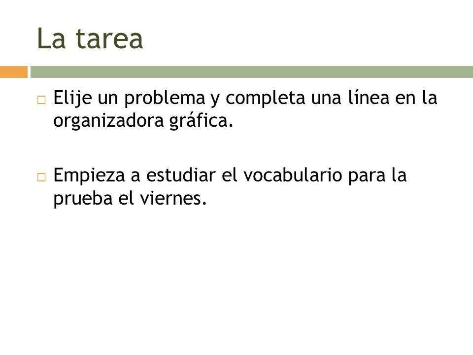 La tarea Elije un problema y completa una línea en la organizadora gráfica. Empieza a estudiar el vocabulario para la prueba el viernes.