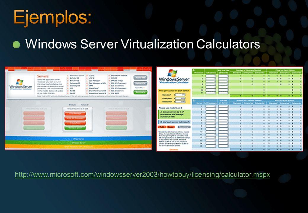 Windows Server Virtualization Calculators http://www.microsoft.com/windowsserver2003/howtobuy/licensing/calculator.mspx