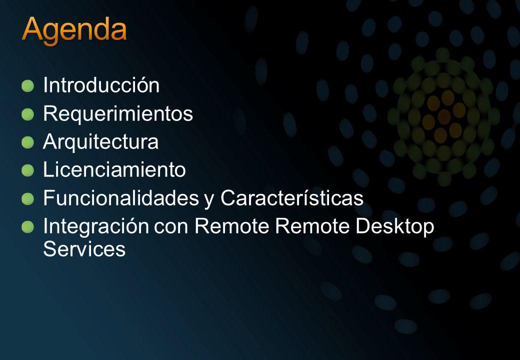 Windows Server 2008 R2 Remote Desktop Services junto con: Hyper-V R2 + Remote Desktop Virtualization Host Microsoft Hyper-V Server 2008 R2 + Remote Desktop Agent Experiencia unificada de usuarios y administradores Virtualización de la presentación: El TS tradicional (una sesión por usuario) VDI: Una VM por usuario.