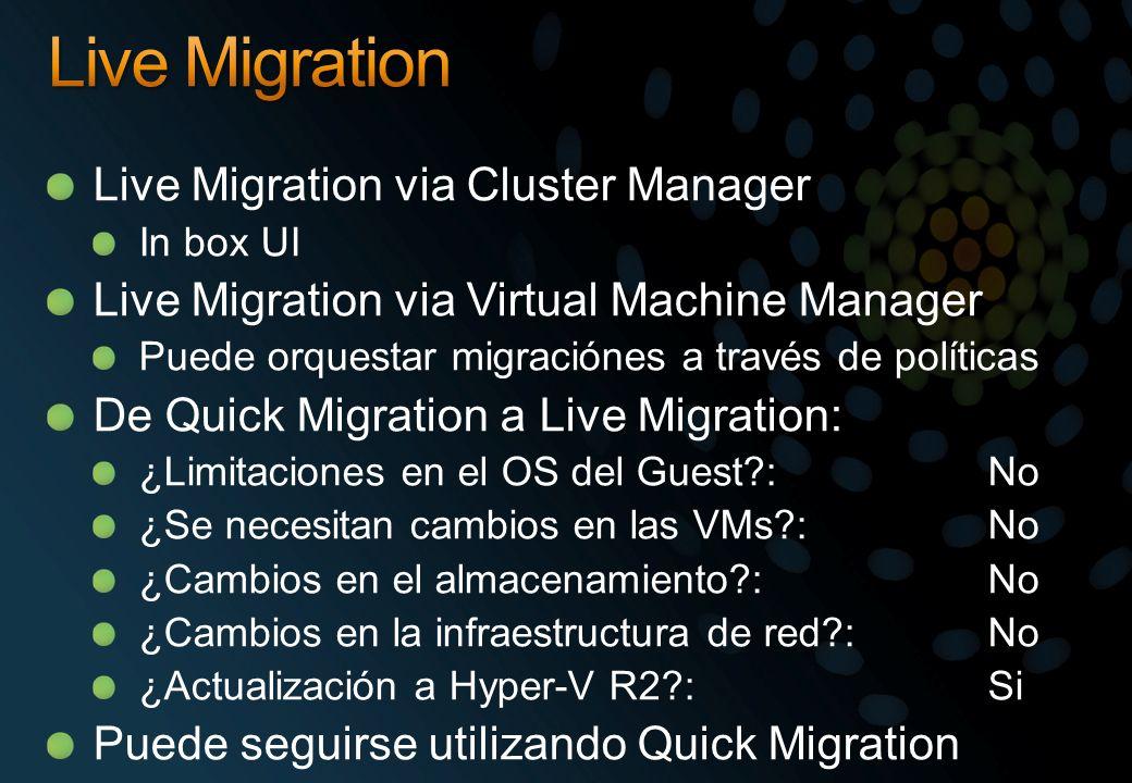 Live Migration via Cluster Manager In box UI Live Migration via Virtual Machine Manager Puede orquestar migraciónes a través de políticas De Quick Mig