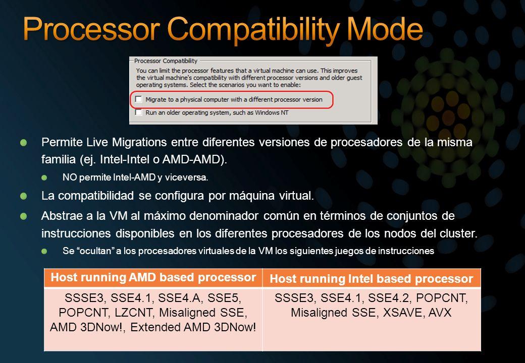 Permite Live Migrations entre diferentes versiones de procesadores de la misma familia (ej. Intel-Intel o AMD-AMD). NO permite Intel-AMD y viceversa.