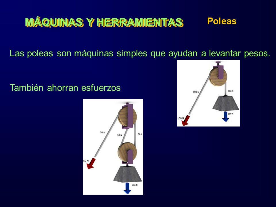 MÁQUINAS Y HERRAMIENTAS Poleas Las poleas son máquinas simples que ayudan a levantar pesos. También ahorran esfuerzos