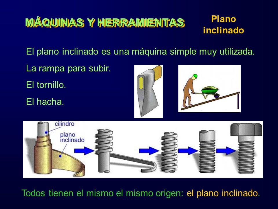 MÁQUINAS Y HERRAMIENTAS Plano inclinado El plano inclinado es una máquina simple muy utilizada. La rampa para subir. El tornillo. El hacha. Todos tien