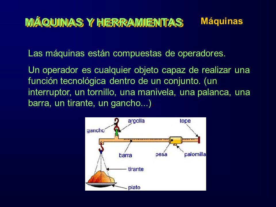 MÁQUINAS Y HERRAMIENTAS Máquinas Las máquinas están compuestas de operadores. Un operador es cualquier objeto capaz de realizar una función tecnológic