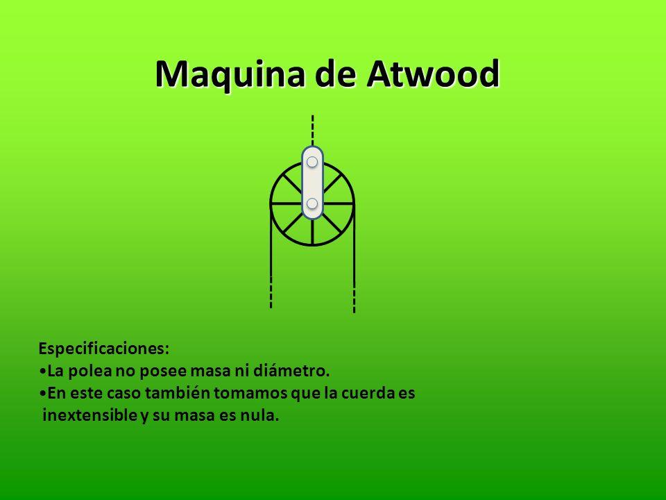Maquina de Atwood Especificaciones: La polea no posee masa ni diámetro.
