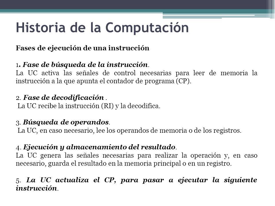 Fases de ejecución de una instrucción 1. Fase de búsqueda de la instrucción. La UC activa las señales de control necesarias para leer de memoria la in