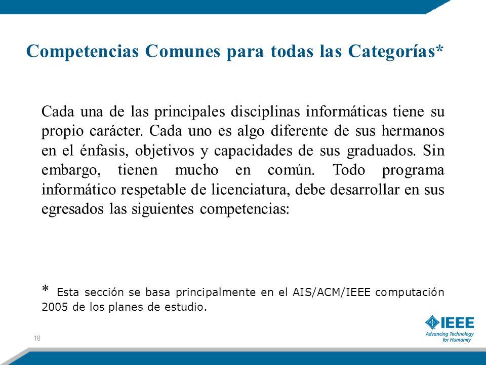Competencias Comunes para todas las Categorías* Cada una de las principales disciplinas informáticas tiene su propio carácter. Cada uno es algo difere
