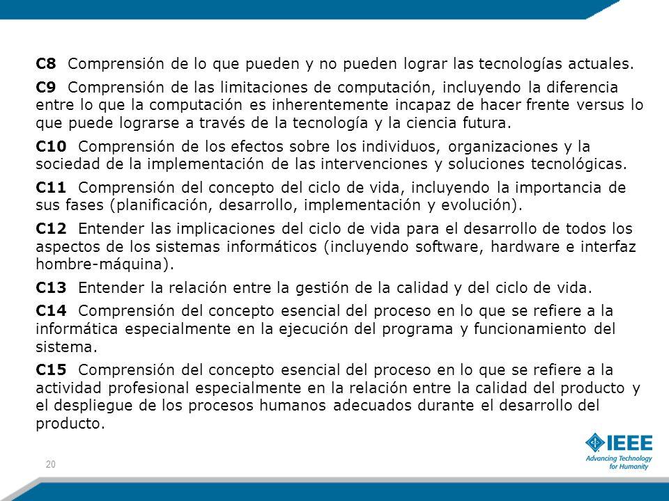 C8 Comprensión de lo que pueden y no pueden lograr las tecnologías actuales. C9 Comprensión de las limitaciones de computación, incluyendo la diferenc