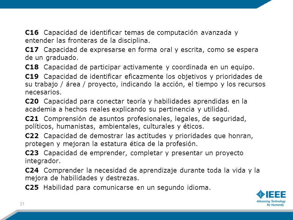 C16 Capacidad de identificar temas de computación avanzada y entender las fronteras de la disciplina. C17 Capacidad de expresarse en forma oral y escr