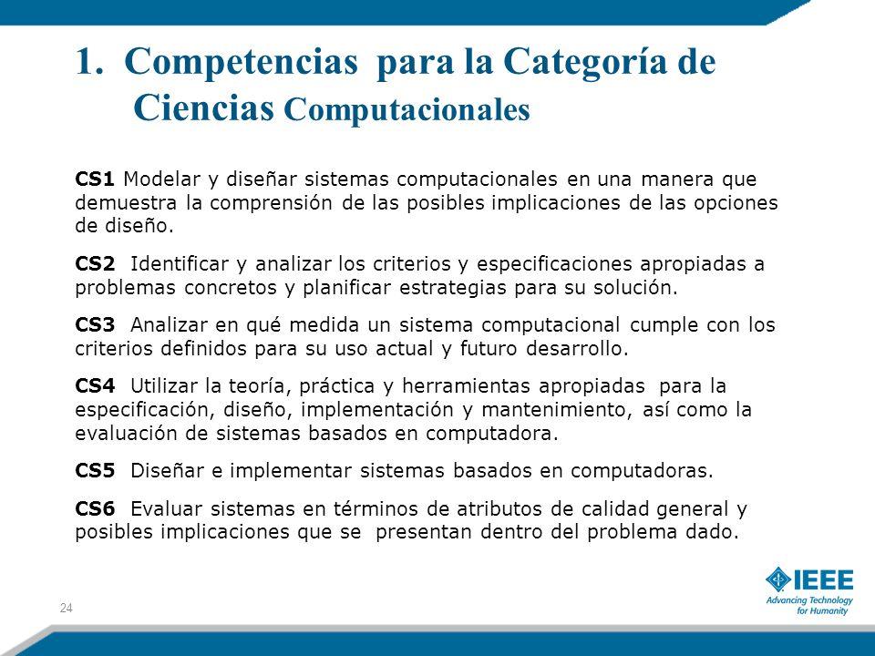 1. Competencias para la Categoría de Ciencias Computacionales CS1 Modelar y diseñar sistemas computacionales en una manera que demuestra la comprensió