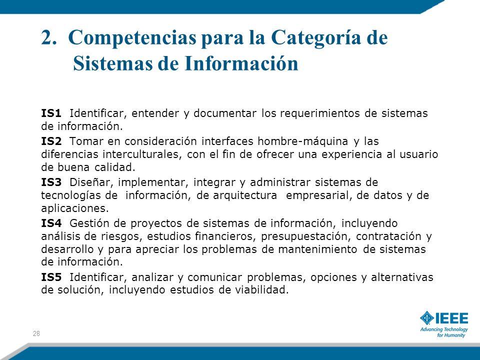 2. Competencias para la Categoría de Sistemas de Información IS1 Identificar, entender y documentar los requerimientos de sistemas de información. IS2