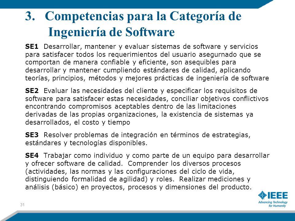 3. Competencias para la Categoría de Ingeniería de Software SE1 Desarrollar, mantener y evaluar sistemas de software y servicios para satisfacer todos