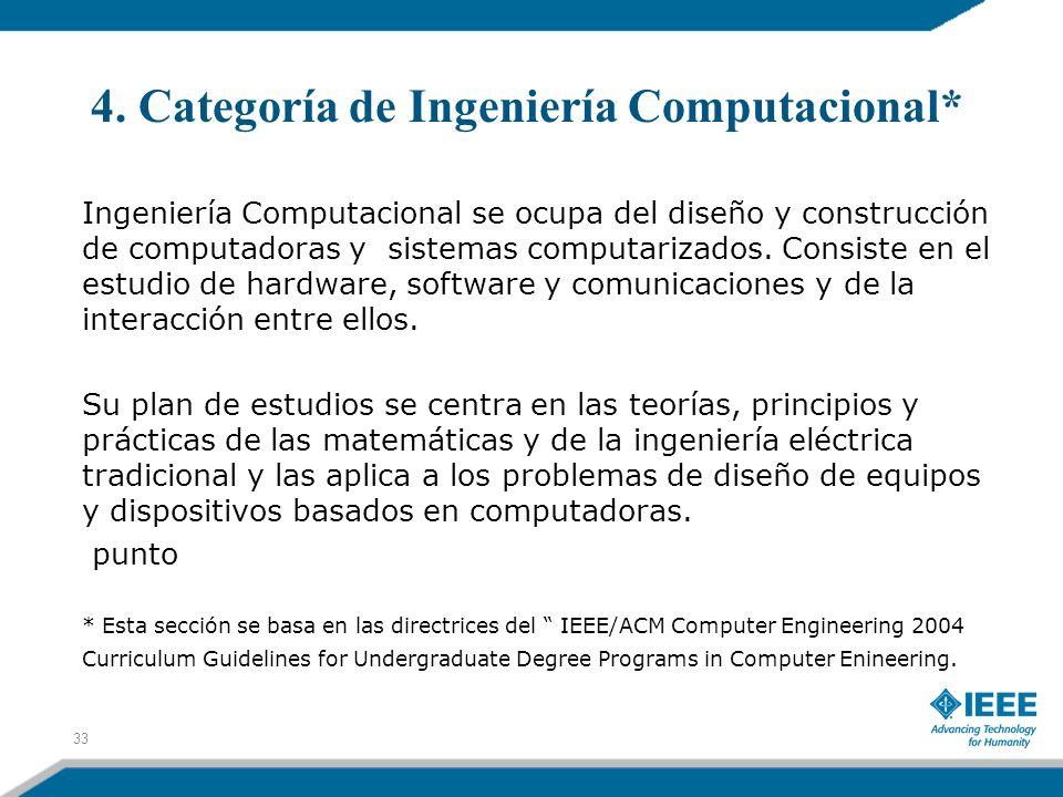 4. Categoría de Ingeniería Computacional* Ingeniería Computacional se ocupa del diseño y construcción de computadoras y sistemas computarizados. Consi