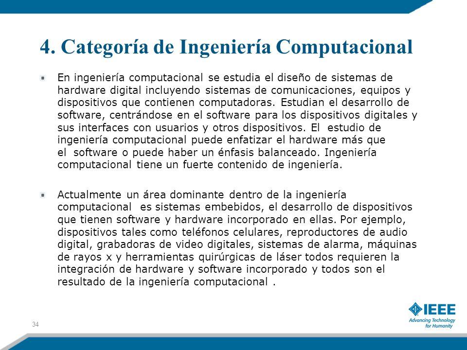 4. Categoría de Ingeniería Computacional 34 En ingeniería computacional se estudia el diseño de sistemas de hardware digital incluyendo sistemas de co