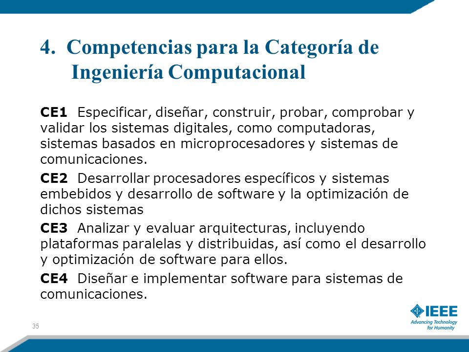 4. Competencias para la Categoría de Ingeniería Computacional CE1 Especificar, diseñar, construir, probar, comprobar y validar los sistemas digitales,