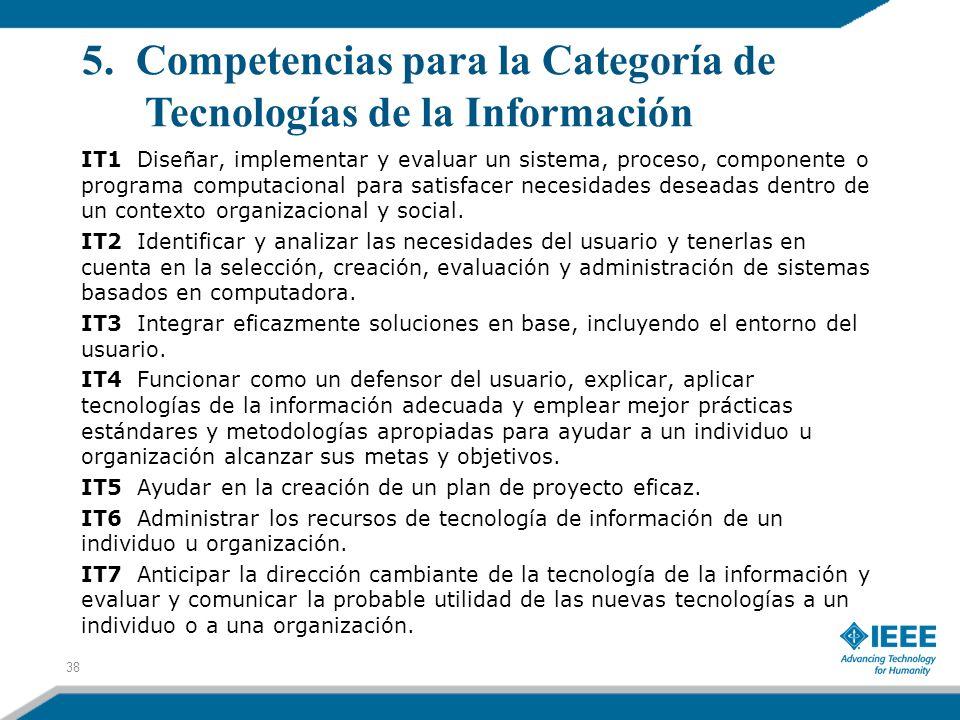 5. Competencias para la Categoría de Tecnologías de la Información IT1 Diseñar, implementar y evaluar un sistema, proceso, componente o programa compu