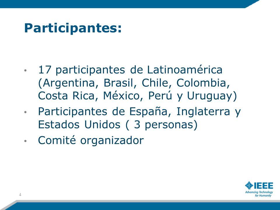 Participantes: 17 participantes de Latinoamérica (Argentina, Brasil, Chile, Colombia, Costa Rica, México, Perú y Uruguay) Participantes de España, Ing